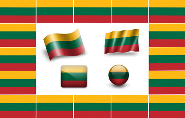 Flag of Lithuania. icon set. flags frame