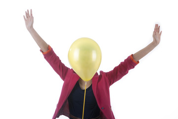 Happy businesswoman with balloon