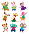 cartoon animal dancer icons
