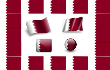 Flag of Qatar.  icon set. flags frame