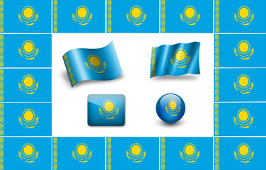 Kazakhstan Flag.  icon set. flags frame