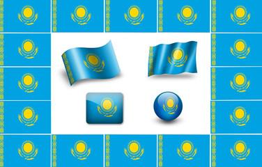 Kazakhstan Flag.  icon set. flags frame