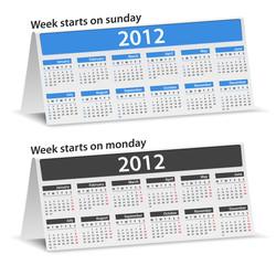 Vector calendars for 2012 year