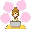 PCを見る女性