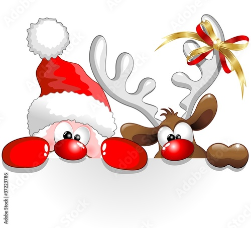Babbo Natale e Renna-Santa Claus and Reindeer Background