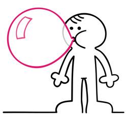 figur mit kaugummiblase