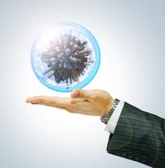 Cyti world on businessman hand