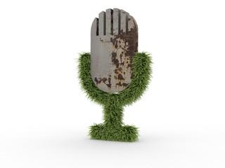 3d Icon Microphon Gras und Beton