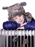 Girl with pelt cap over a radiator looking forward to summertime poster