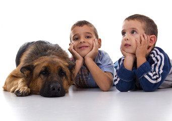 two brothers with German Shepherd