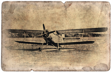 Vintage military postcard isolated, old biplane