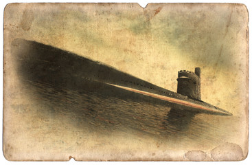 Vintage military postcard isolated, old submarine