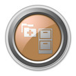 "Bronze 3D Style Button ""Medical Records"""