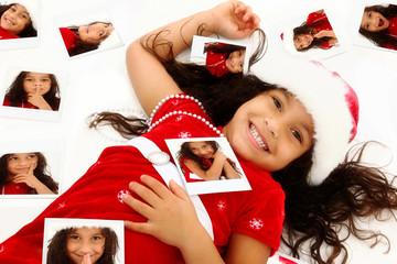 Beautiful Hispanic African American Girl Child in Santa Hat Chri