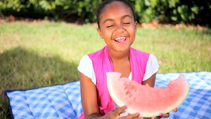 Cute African American Child Eating Water Melon