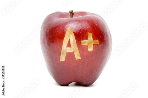 A Plus apple isolated on white