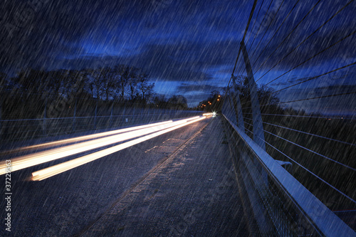 headlight trails raining