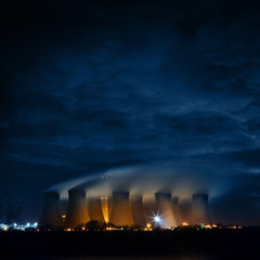 power plant night time
