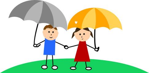 Children with umbrellas