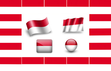 Flag of Monaco. icon set