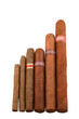 Various sizes of Cuban cigar, isolated on white