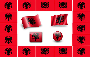 Sovereign state flag of country of Albania in official colors