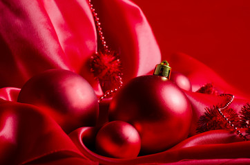 New Year spheres on a red fabric