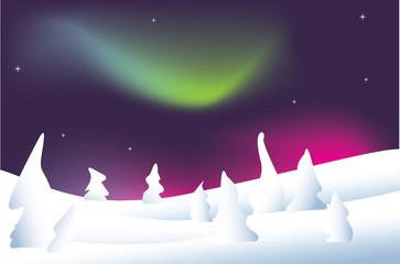 paesaggio invernale nordico con aurora boreale