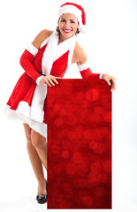 Woman showing a blank Christmas sign