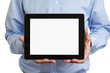 Man holding blank digital tablet with clipping path