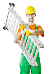 Builder isolated on the white