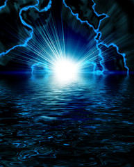 bright blue flash with lightning in the night sky