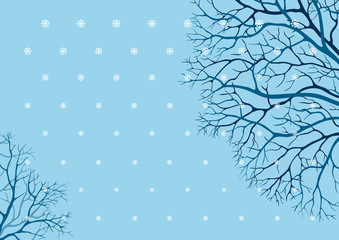 Vector  winter bacground with many tree branches and snowflakes