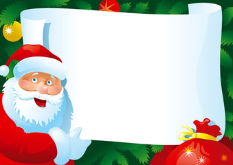 """Vector Card with  Santa Claus and paper for your text."