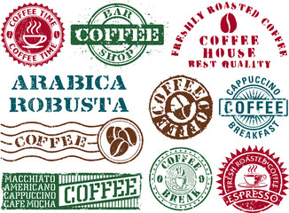 Coffee vector rubber stamps