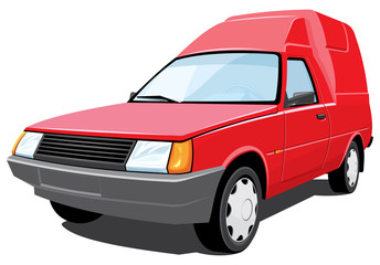 Vector isolated red pickup without gradients