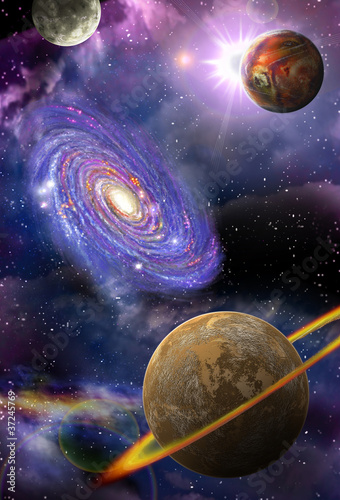 galaxies and planets in space