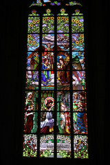 Stained-glass window in Saint Barbara's Church, Czech Republic,