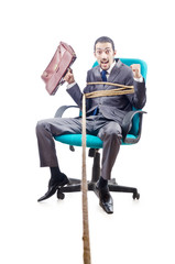 Businessman in the tug of war concept