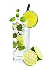 Mojito cocktail  on  a white
