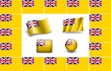 Flag of Niue.  icon set. flags frame