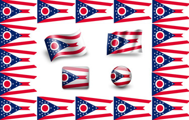 Flag of Ohio (USA).  icon set. flags frame
