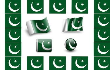 flag of Pakistan.icon set. flags frame