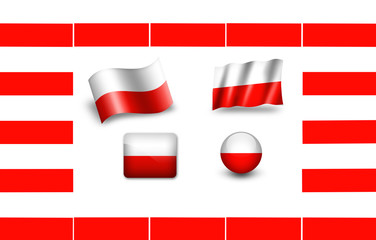 Flag of Poland. icon set. flags frame