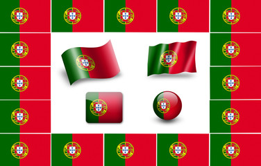 Flag of Portugal. icon set. flags frame