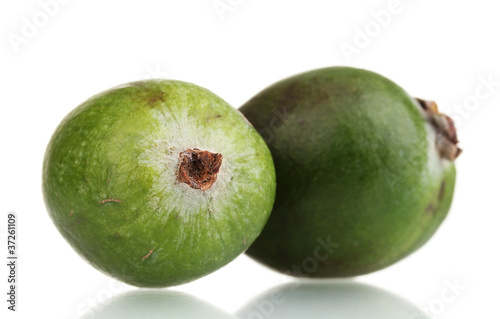 green feijoa fruit, isolated on white