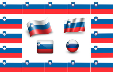 Flag of Slovenia. icon set. flags frame