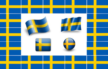 Flag of Sweden. icon set. flags frame