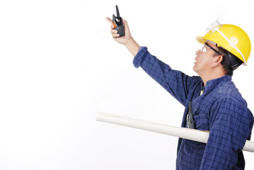 construction man with walkie talkie