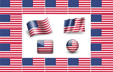Flag of USA. icon set. flags frame